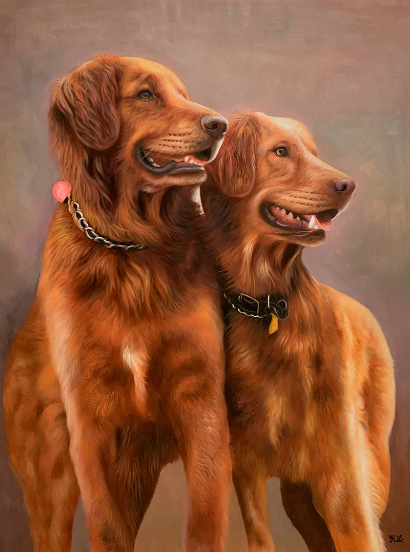 Hyper realistic oil painting of two dogs