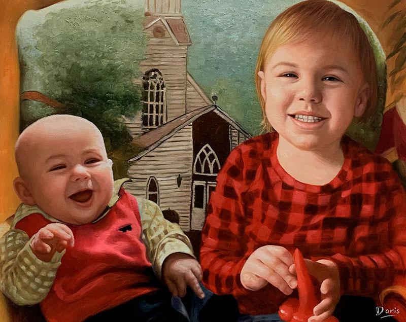 Beautiful oil painting of the siblings