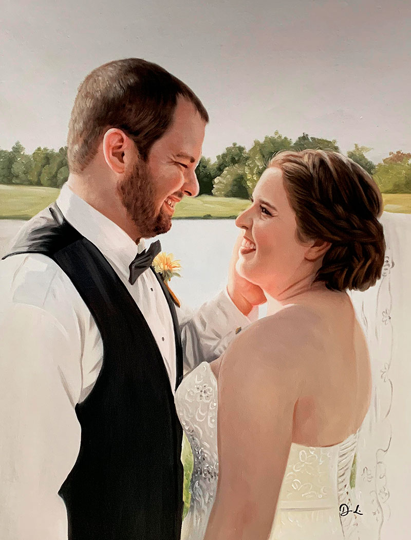 Gorgeous acrylic painitng of a bride and a groom