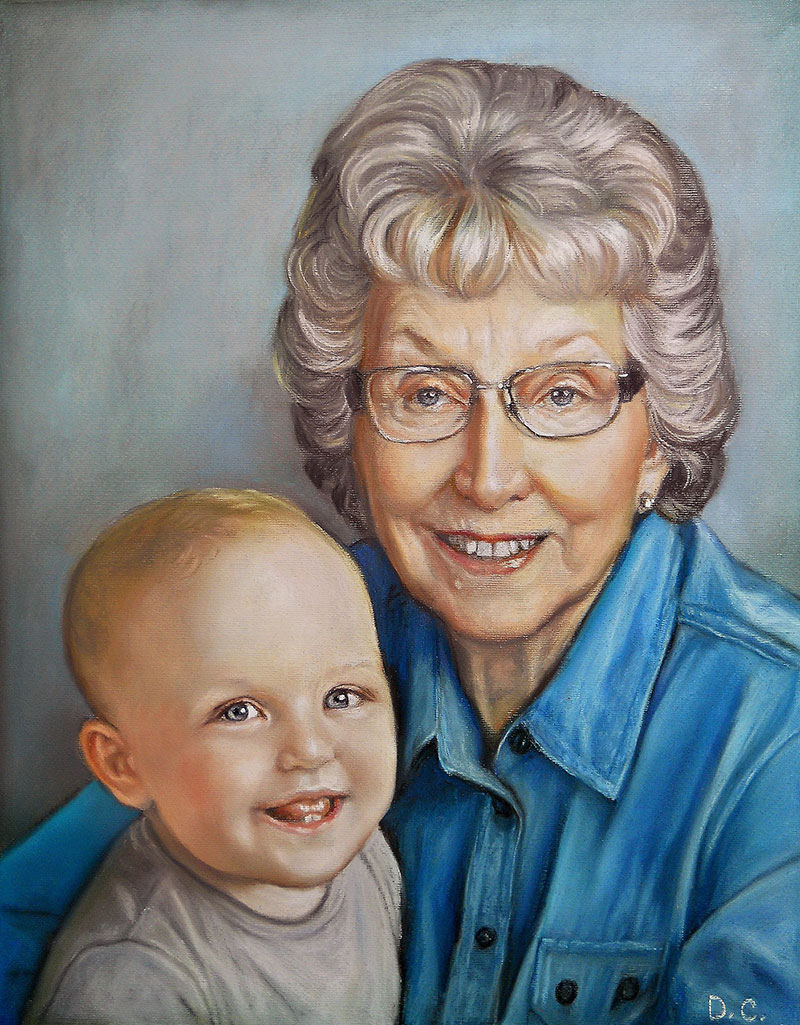 Beautiful pastel artwork of a grandmother and a grandchild