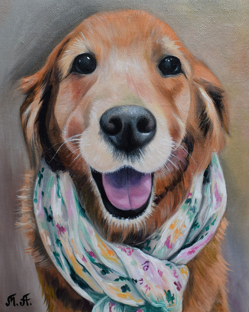 Gorgeous oil painting of a dog