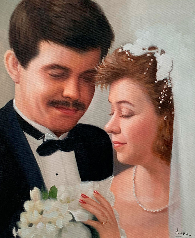 Beautiful oil painting of a bride and a groom