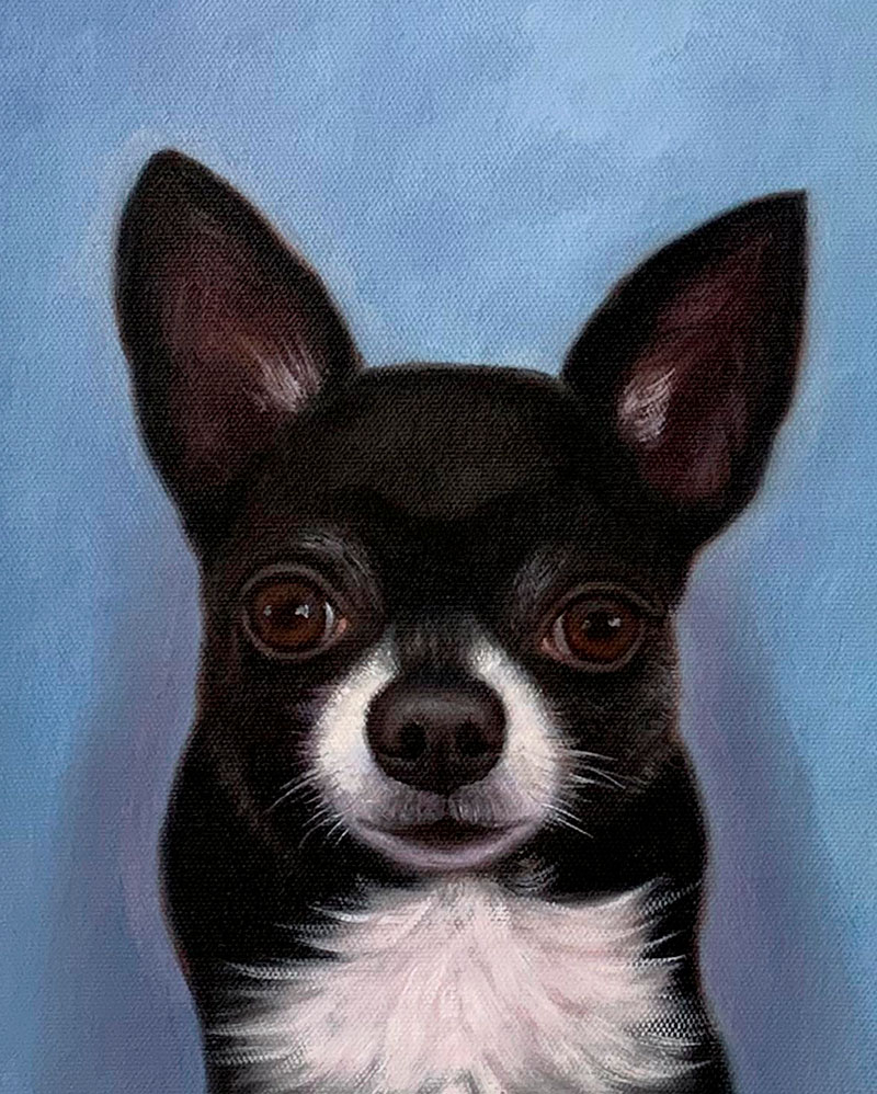 Custom close up acrylic painting of a dog