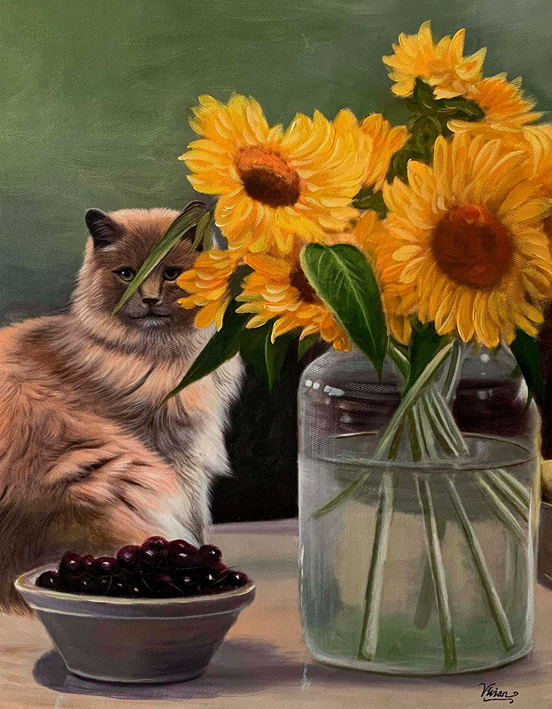 Custom handmade oil painting of a cat with sunflowers