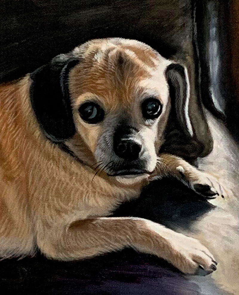 Custom handmade oil painting of a dog