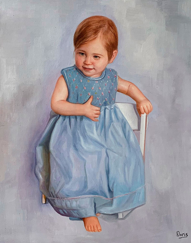 Beautiful oil painting of a baby girl