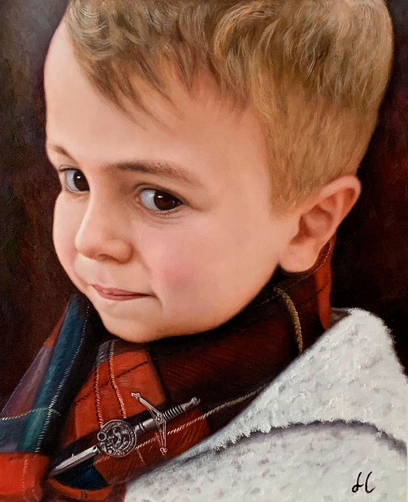Custom close up acrylic painting of a little boy