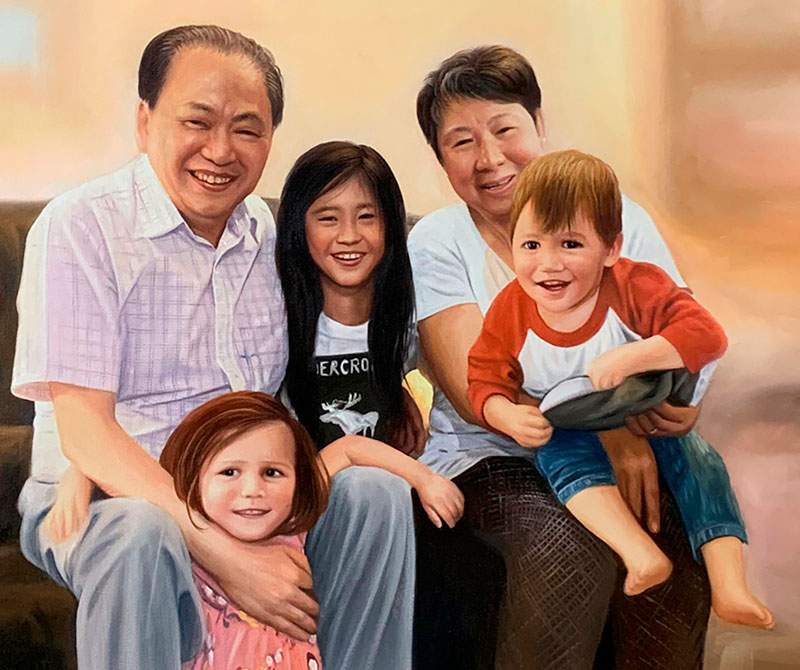 Beautiful oil painting of a happy family