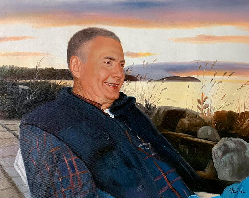 Beautiful handmade oil portrait of a gentleman