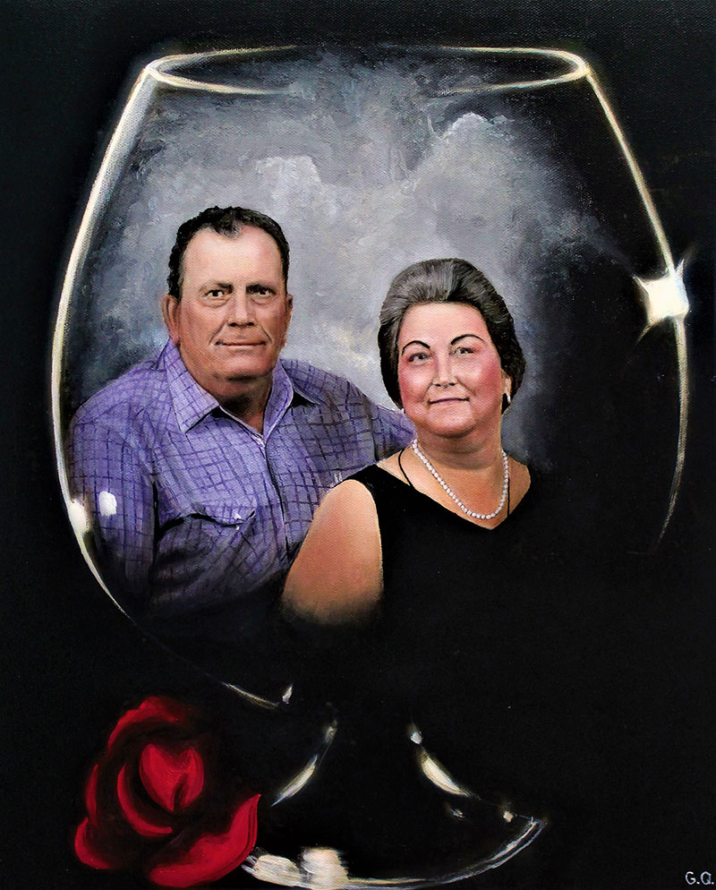 Custom oil painting of a couple