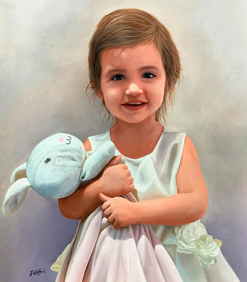 Gorgeous oil portrait of a little girl with a toy rabbit