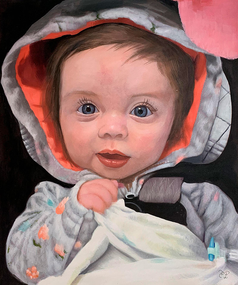 Close up pastel artwork of a little girl