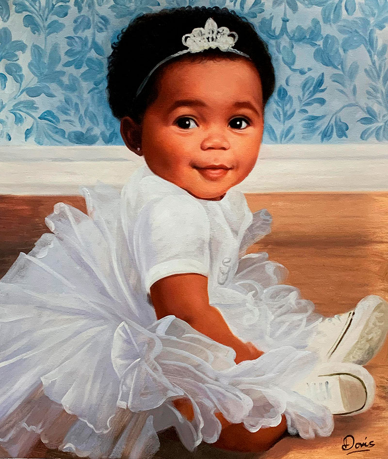 Gorgeous oil portrait of a little girl with a crown