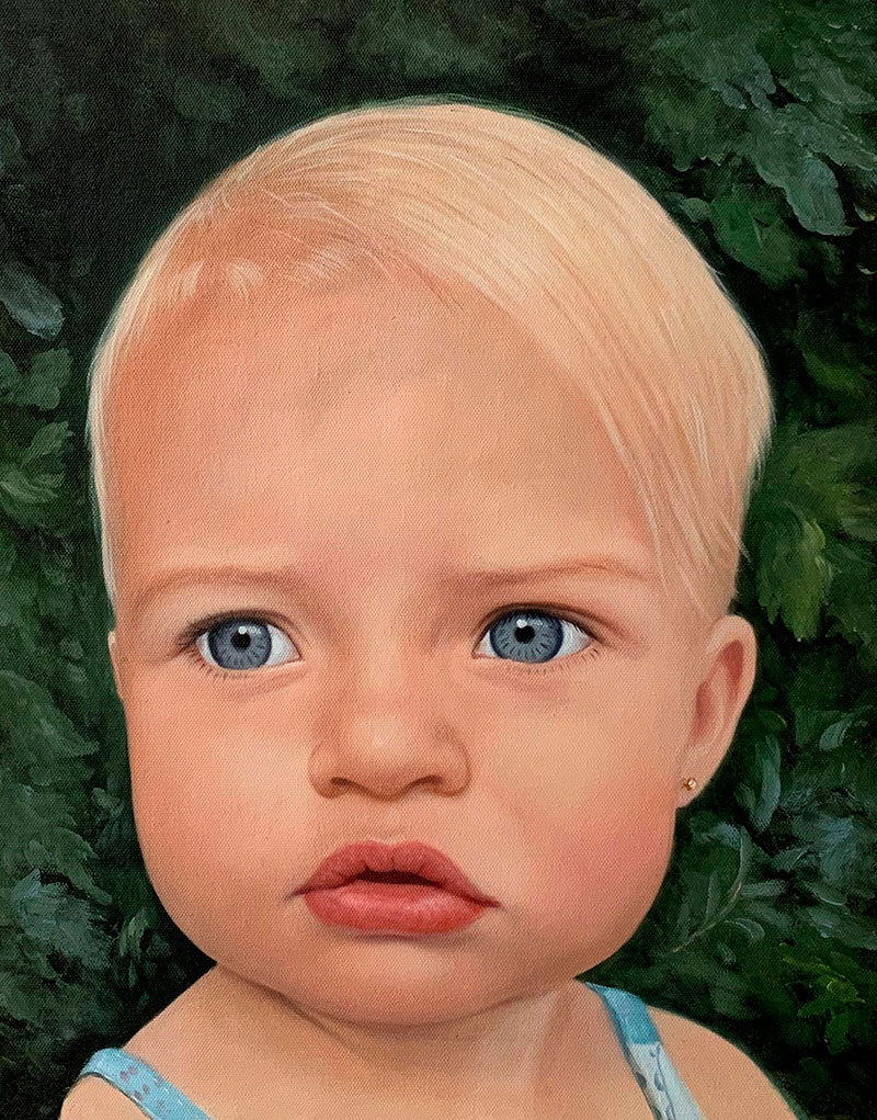 Personalized oil portrait of a baby