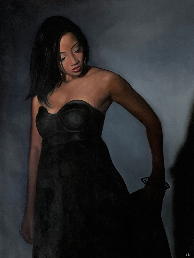 Personalized oil painting of a lady in black