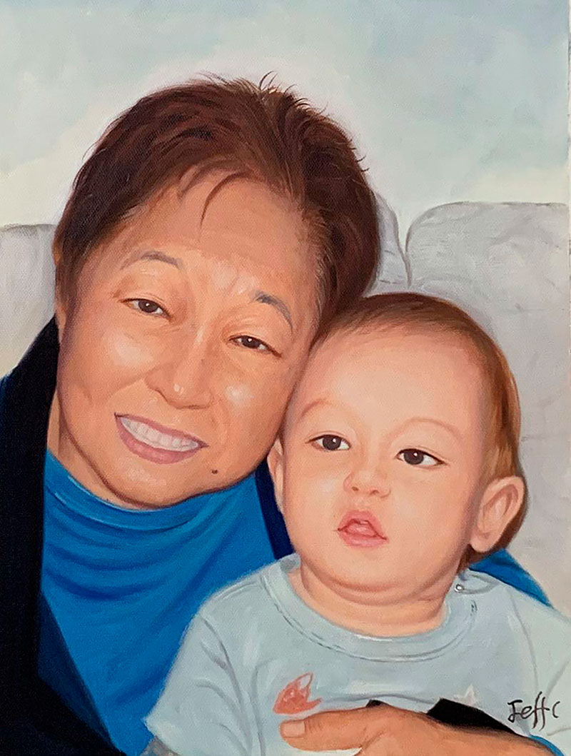 Custom oil painting of a mother and child