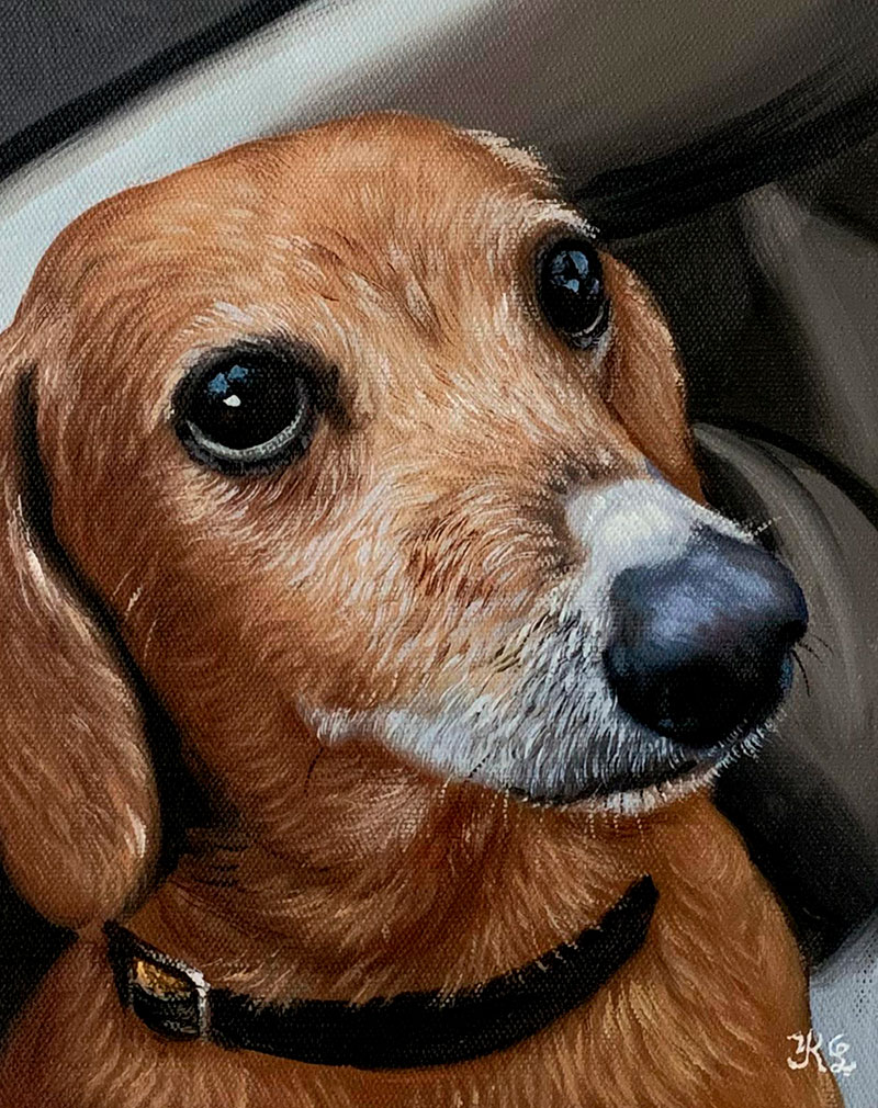 Custom close up handmade oil artwork of a dog