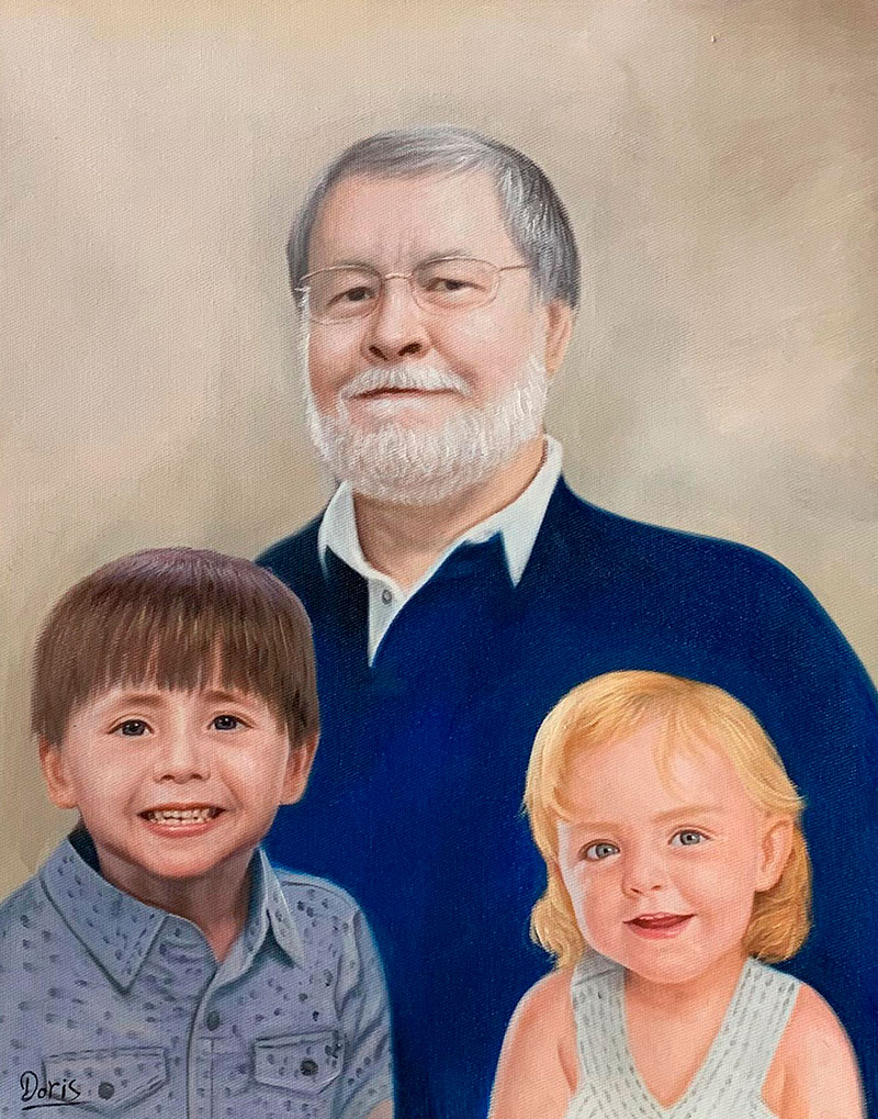 Custom oil painting of a grandfather and grandchildren