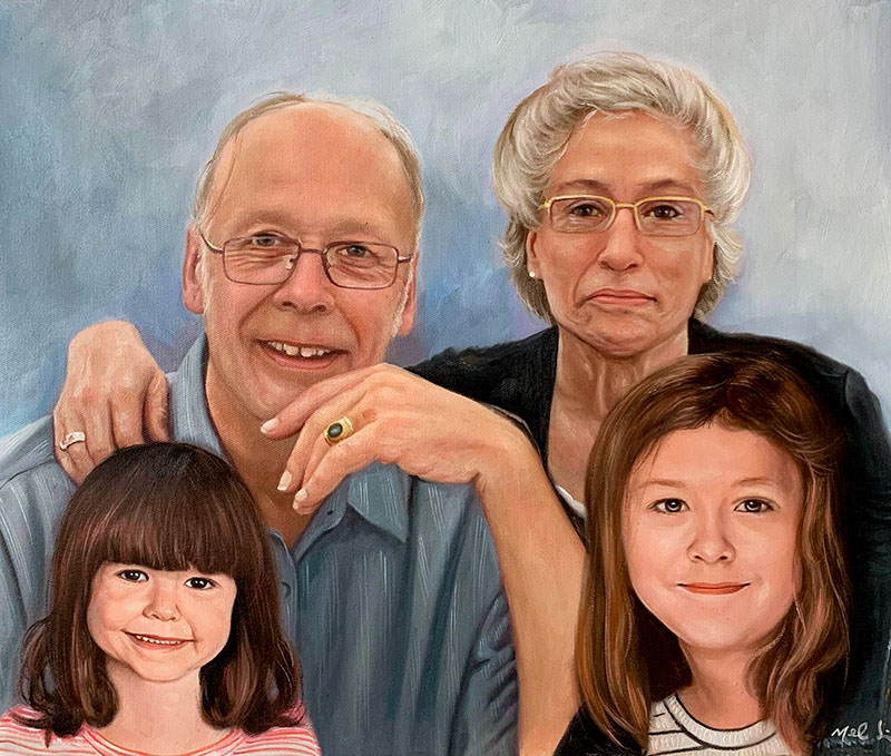 Custom oil painting of a family with a solid background