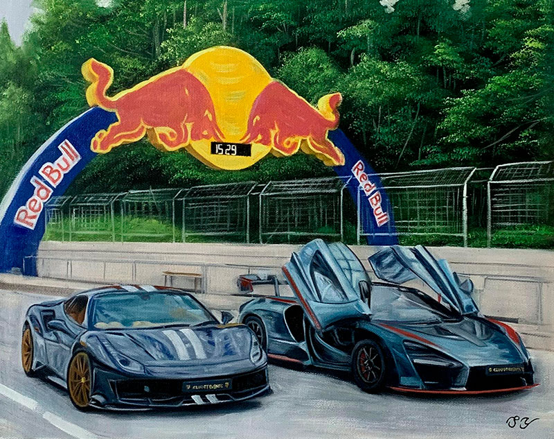 Custom handmade oil painting of cars