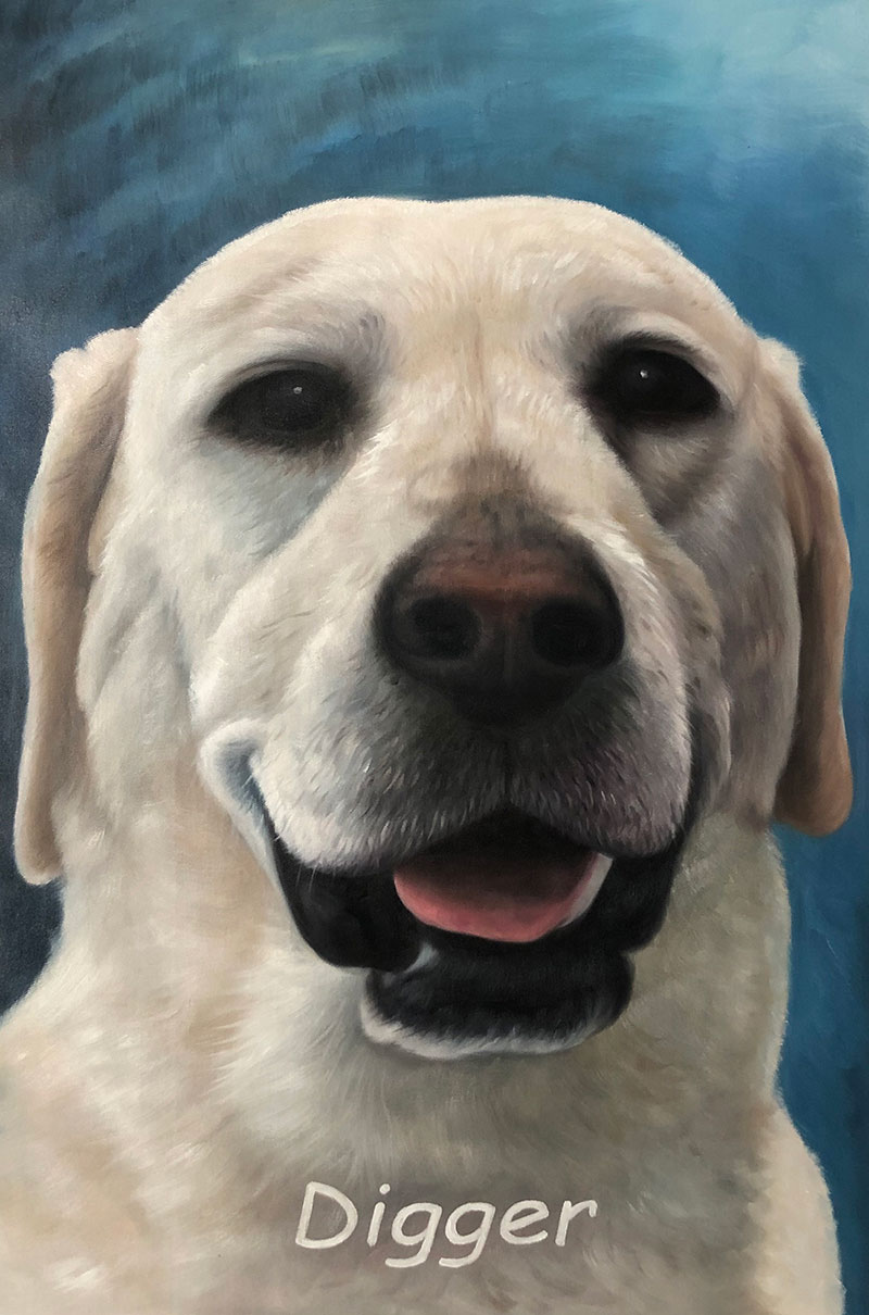 Custom close up oil artwork of a dog