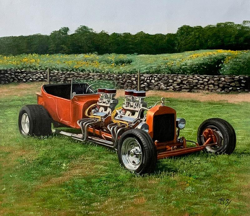 Custom oil painting of a car