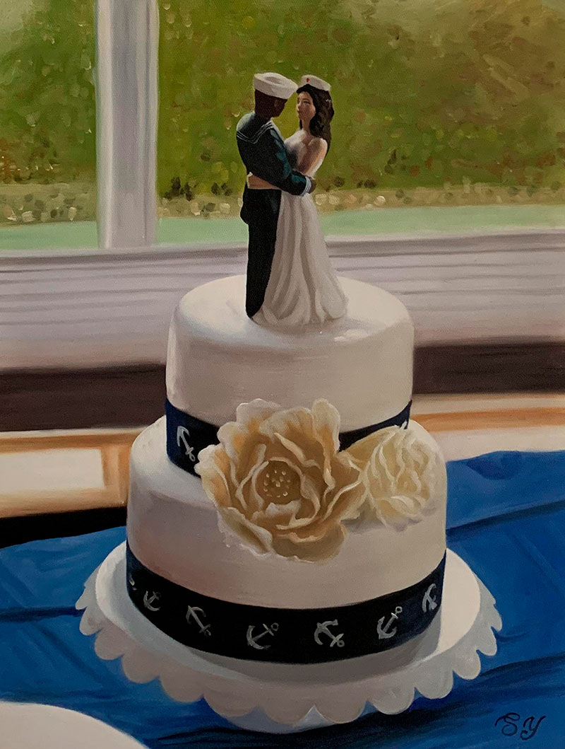 Custom oil painting of a wedding cake