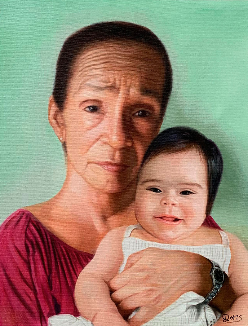 Custom oil painting of a lady with a baby