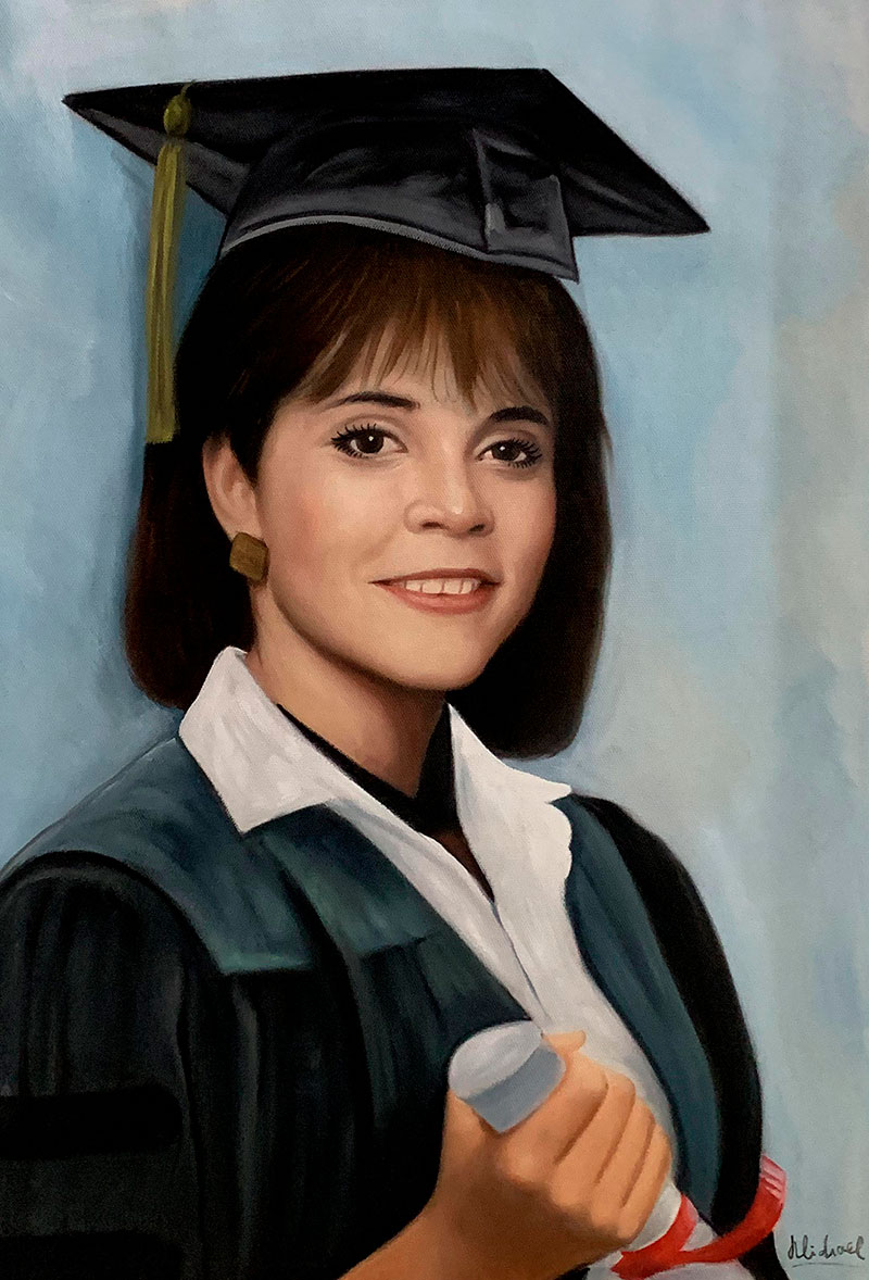 Personalized oil portrait of an adult in a graduation gown