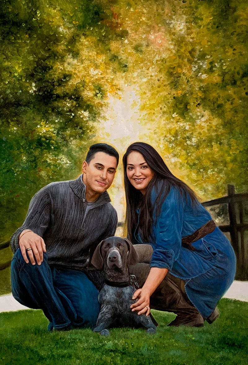 Gorgeous handmade oil artwork of a family with pet