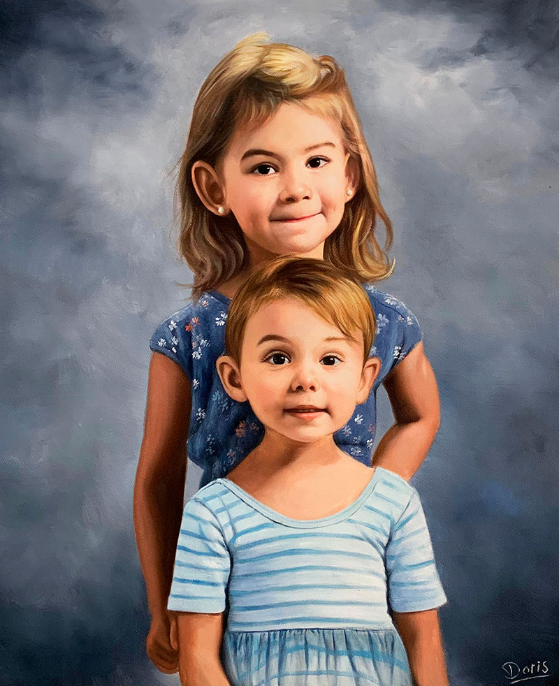 Beautiful oil artwork of two little girls