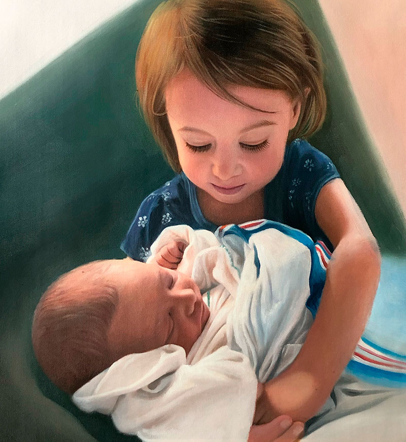 Gorgeous oil artwork of a baby girl holding her brother