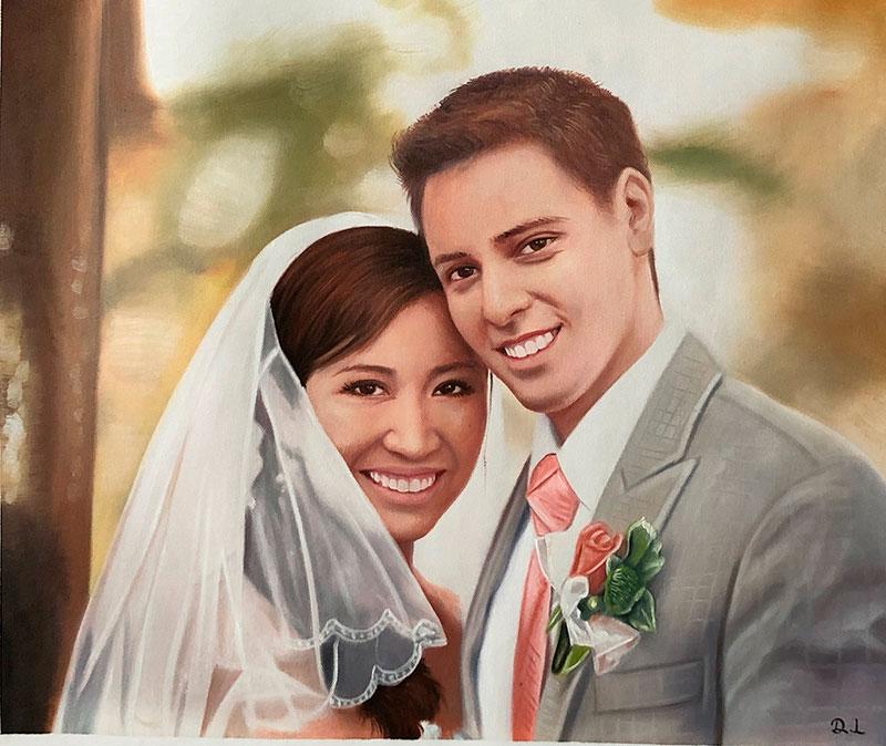 Beautiful oil wedding portrait of a couple