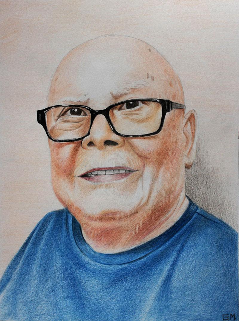 Personalized color pencil portrait of a gentleman
