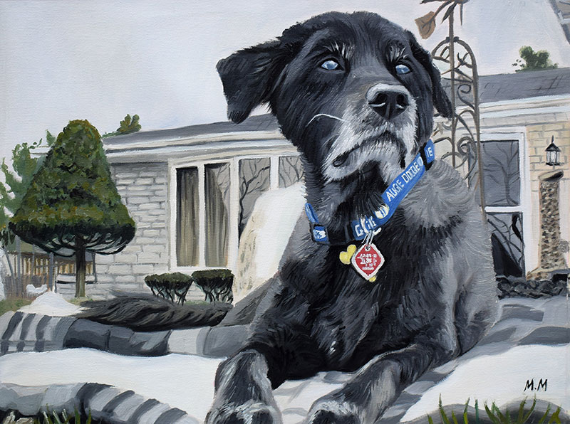 oil painting of the dog in front of the house