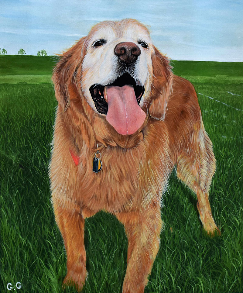 handmade oil painting of a happy dog in the field
