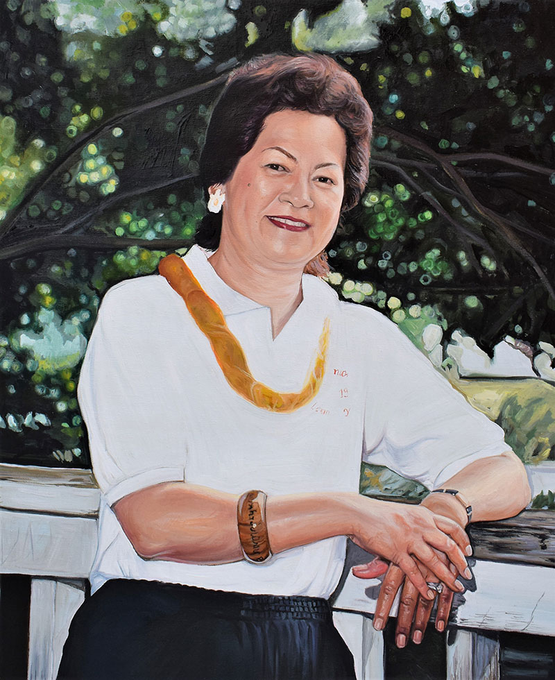 custom oil painting of a woman smiling