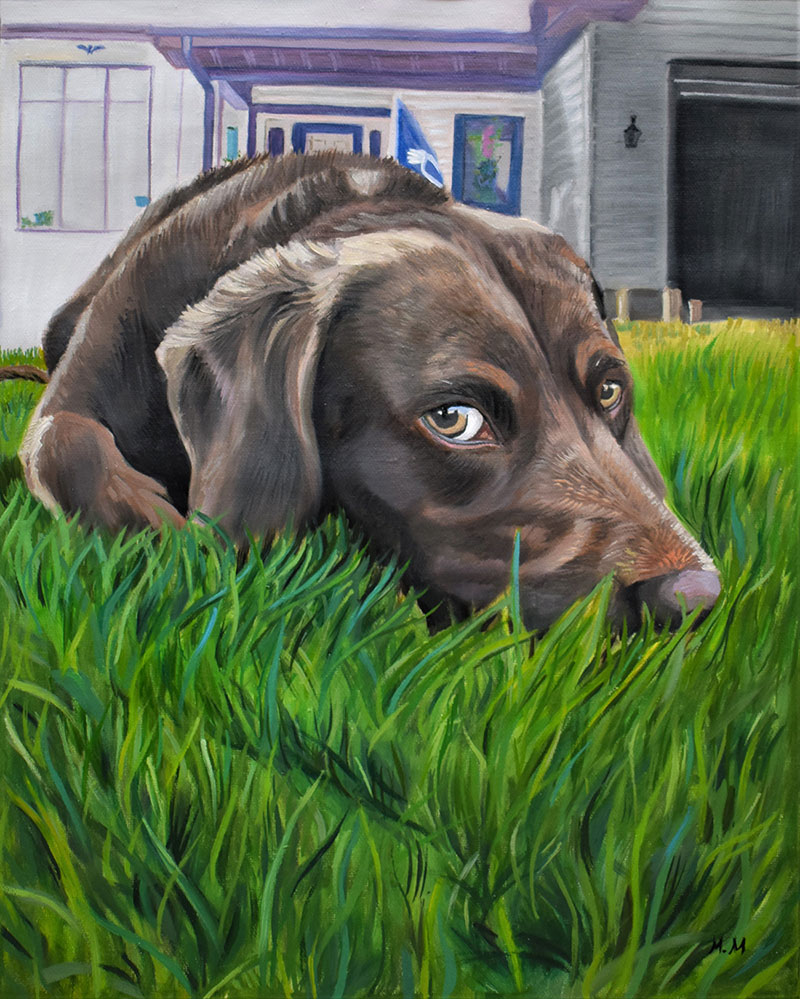 Oil painting of a dog laying on the grass