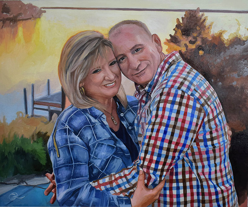 personalized oil painting of a couple on a vacation