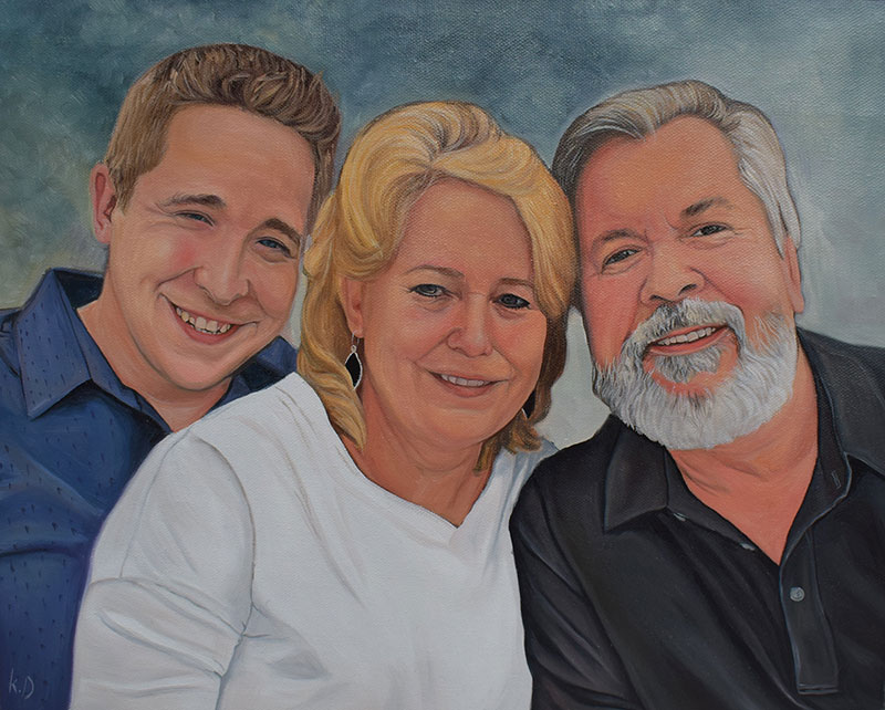 Oil panting of a happy family