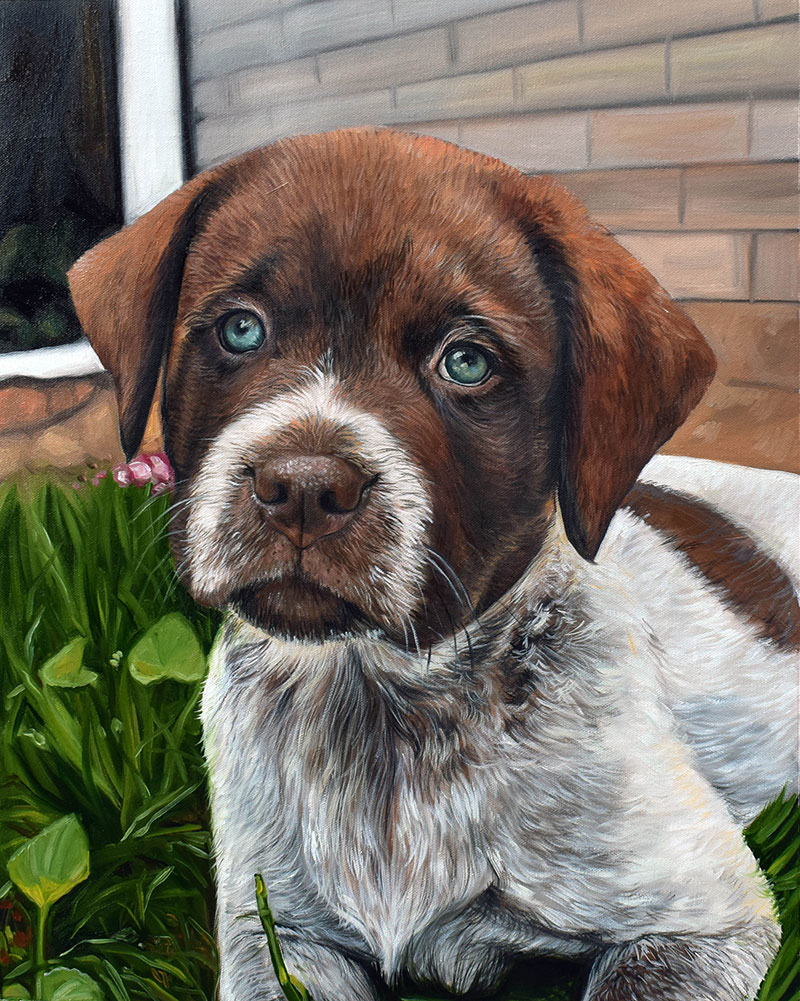 Lifelike oil painting on canvas of a puppy