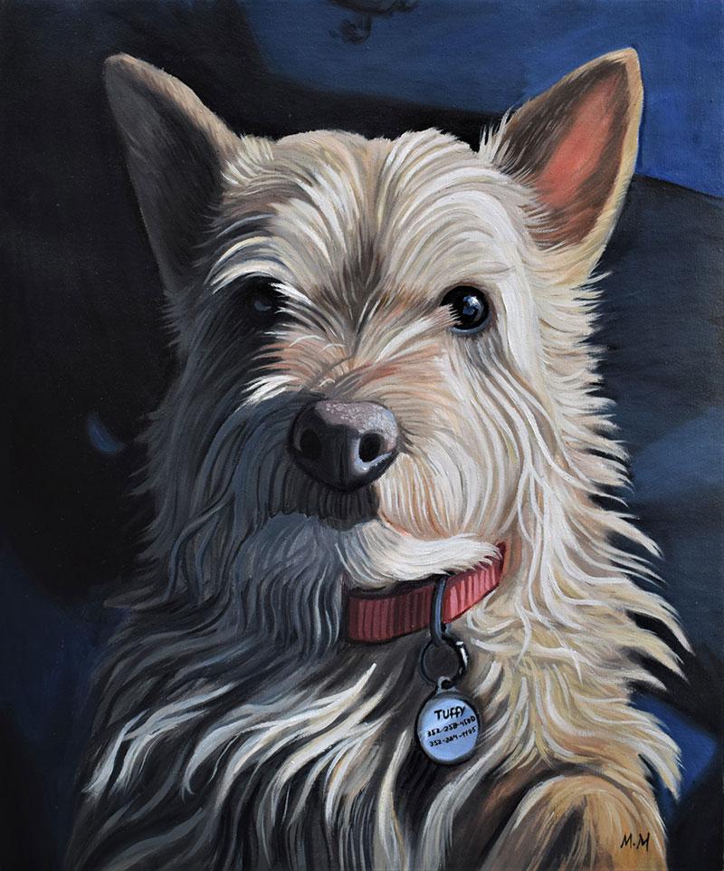 Oil dog portrait