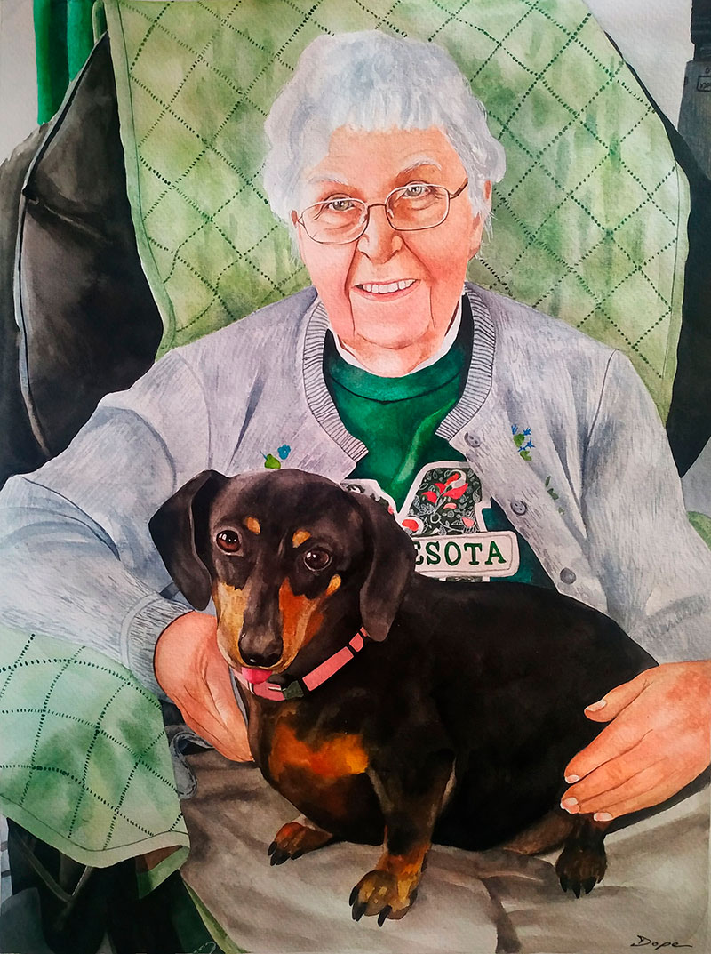 Personalized Watercolor drawing of a woman with Dachshund