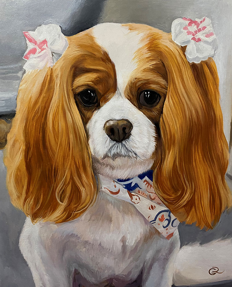 Gorgeous oil handmade artwork of a dog with bows