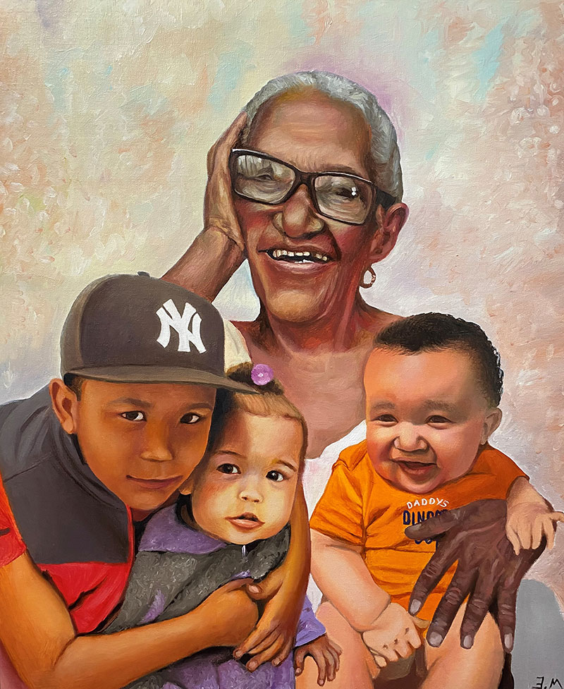 Custom oil painting of a grandmother with three kids