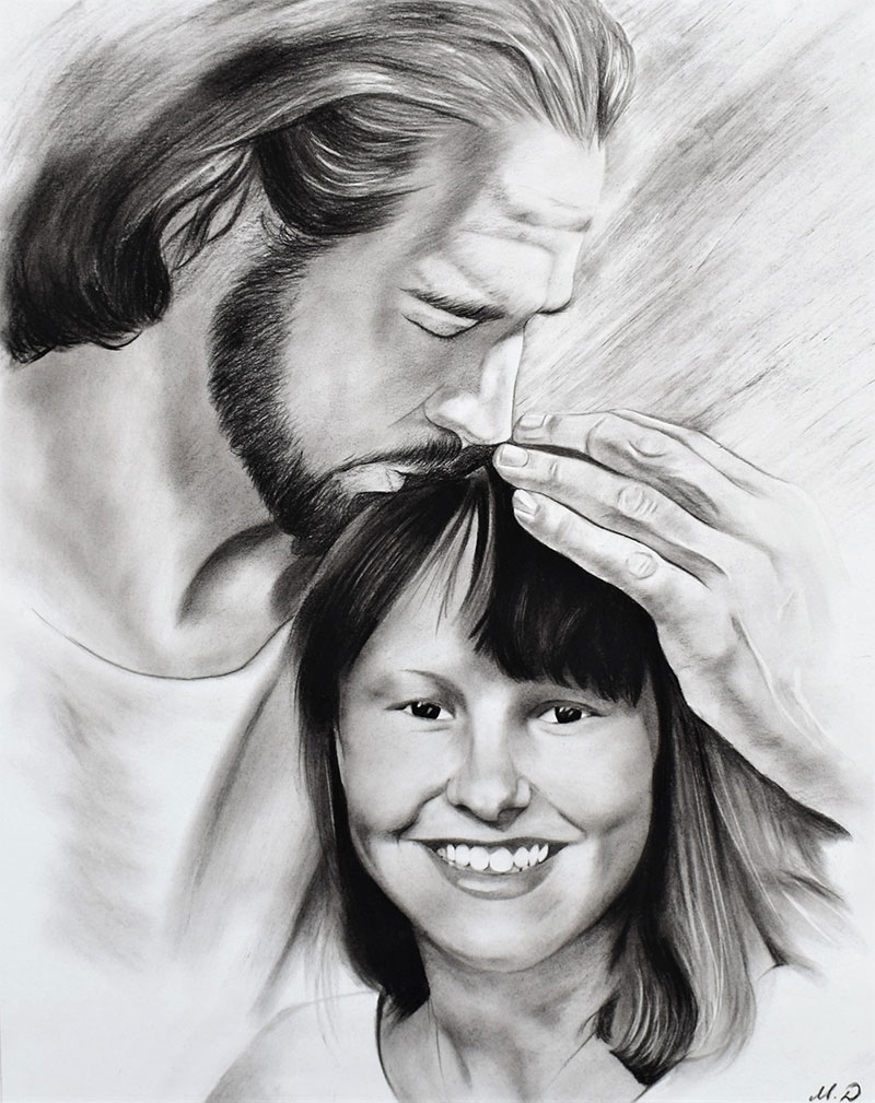 Beautiful charcoal painting of a happy couple