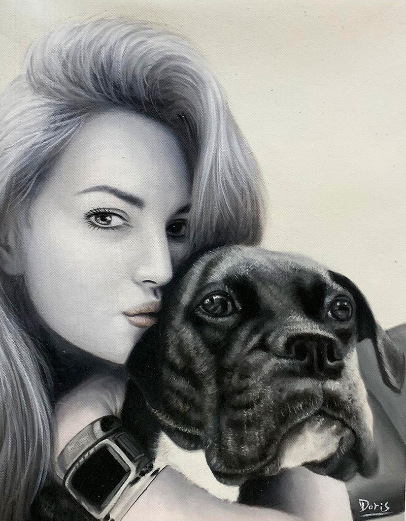 Personalized oil painting of a girl with a dog