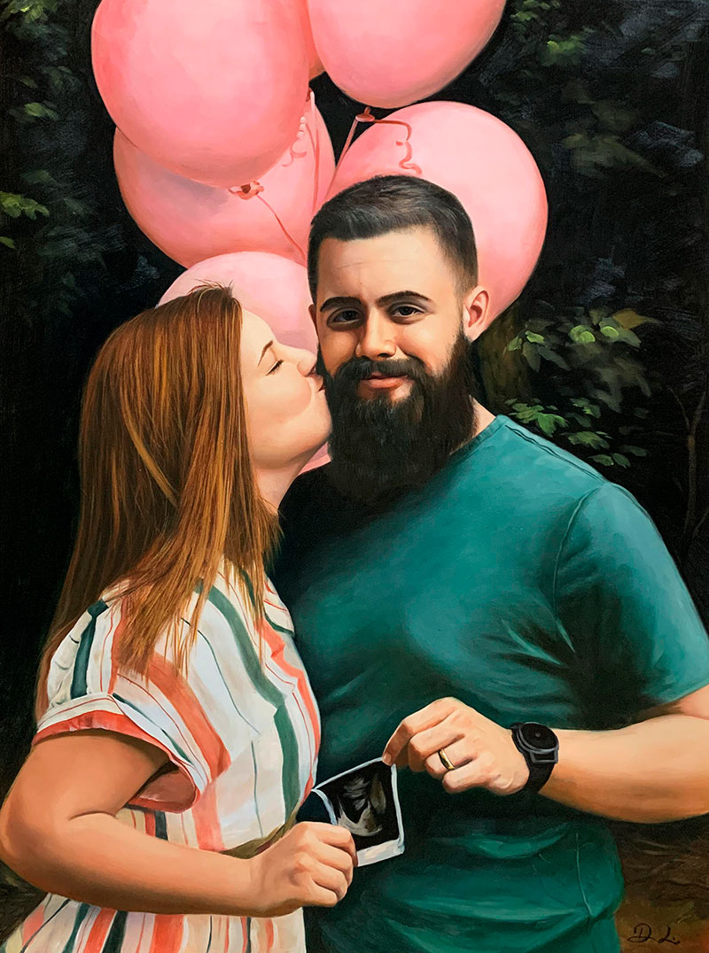 Stunning oil painting of a couple with the pink balloons