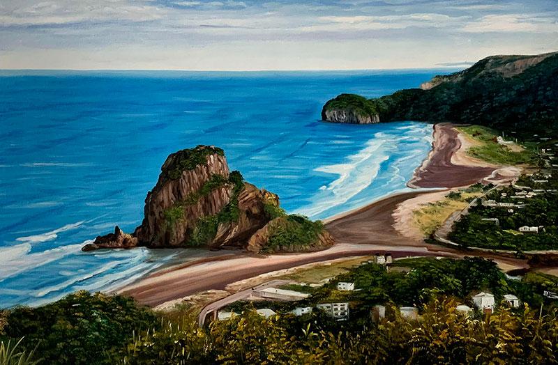 Stunning handmade acrylic painting of a landscape