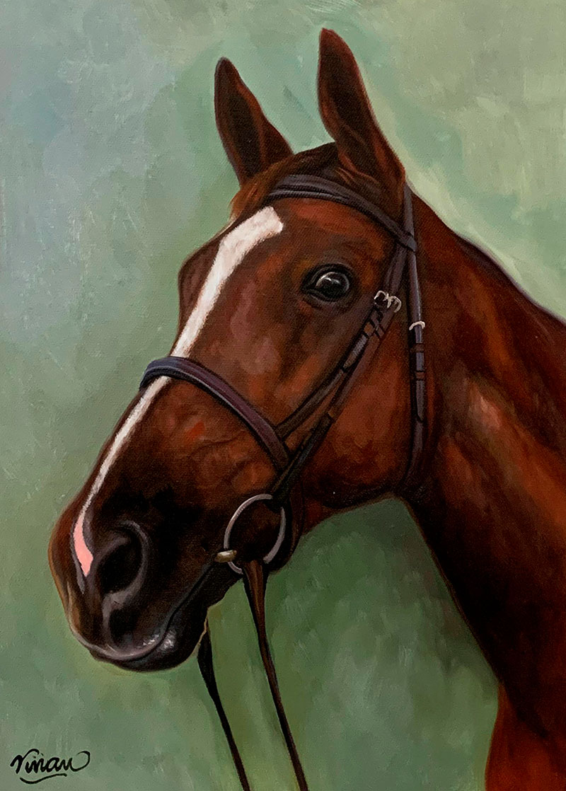 Beautiful close up oil painting of a horse